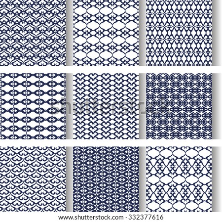 9 Universal different vector seamless patterns (tiling). Endless texture can be used for wallpaper, pattern fills, web page background,surface textures.