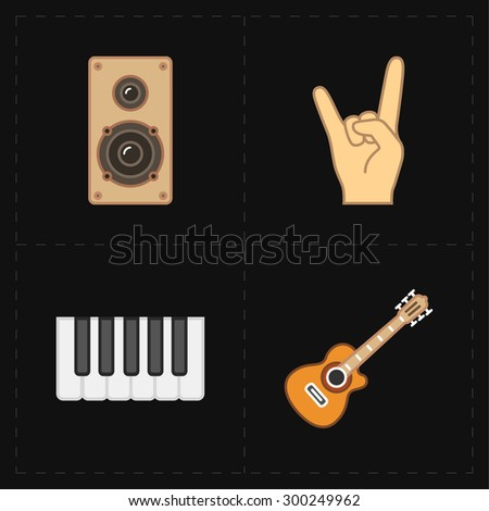 4 universal flat music icons - stock vector