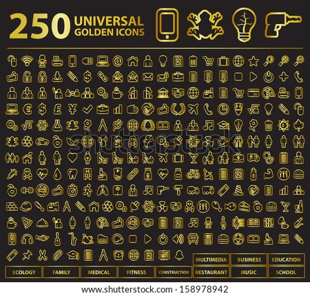 250 Universal Golden Stroke Icons. - stock vector