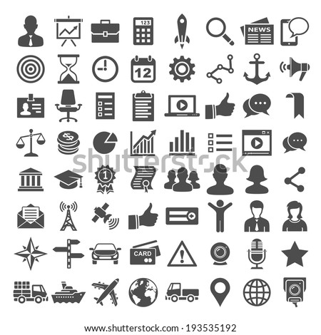 64 Universal Icons. Business, financial and social icons. Simplus series - stock vector