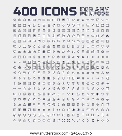 400 Universal Icons for Any Purpose - stock vector