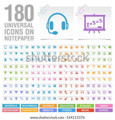 180 Universal Icons on Notepaper. - stock vector
