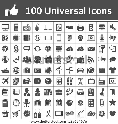 100 Universal Icons. Simplus series. Each icon is a single object (compound path) - stock vector