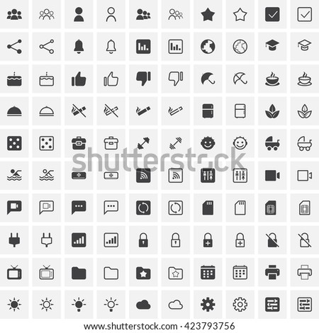 100 Universal line icons set, outline and solid vector symbol collection, linear pictogram pack isolated on white, pixel perfect logo illustration