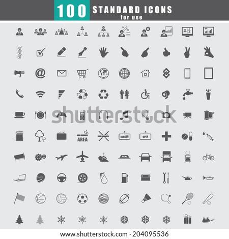 100 Universal Standard Icons vector - stock vector