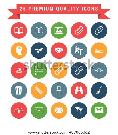 25 Universal web and mobile icon set. A set of 25 multi coloured flat icons for mobile and web.
