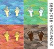 �¡urled abstract colorful waves and human hands of different races - stock photo