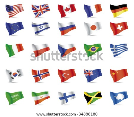1. USA, Great Britain, Canada, France, Germany 2. European Union, Israel, Russia, Japan, Switzerland 3. Italy, Poland, Czech republic, Brazil, Greece 4. South korea, Norway, Turkey, New zeland, - stock vector