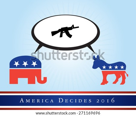 2016 USA presidential election poster or sticker, with emphasis in the military and guns. Vector file available. .  - stock vector