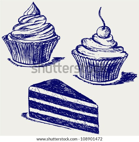 ?ute cupcake. Sketch - stock vector