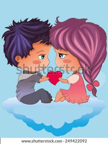 ?ute pair holding a heart and looking at each other - stock vector