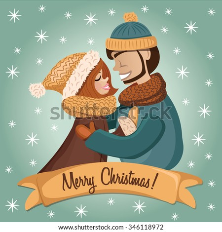 ��¡ute romantic couple in winter clothes. Vector illustration - stock vector