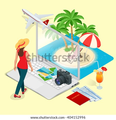 Vacation. Vacation icon. Summer vacation. Vacation new. Vacation booking concept. Vacation best. Time to Vacation. Vacation online. Vacation concept. Vacation and travel. Vacation isometric - stock vector