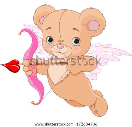 Valentine cupid bear ready to shoot his arrow - stock vector