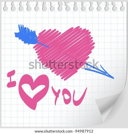 Valentine hand drawn vector - stock vector