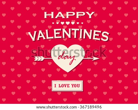 Valentine's Background happy valentines day cards with ornaments, hearts, ribbon, and arrow - stock vector