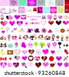 100 Valentine's Day graphic design elements for cards and wallpaper – Part 9 (vector) - stock vector