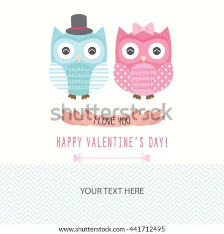 Valentines day invitation card happy valentines day stock vector valentines day invitation cardhappy valentines day invitationlove owls vector illustration stopboris Choice Image