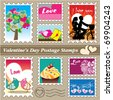Valentine's day postage stamps - stock vector