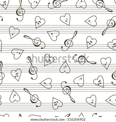 Valentine's Day seamless pattern. Music background. Clef. Hearts. Notes. - stock vector