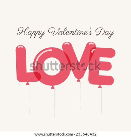 Valentines day card with letters balloons - stock vector