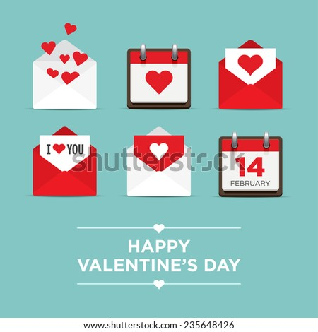 Valentines day set of icons, letter, calendar, hearts - stock vector
