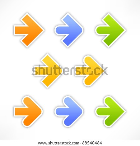 9 variations forms of the arrow. Colored stickers with shadow on white background - stock vector