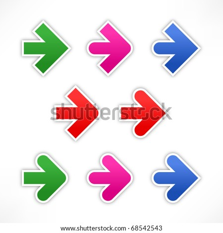 9 variations stickers of the arrow. Colored web 2.0 forms with shadow on white - stock vector