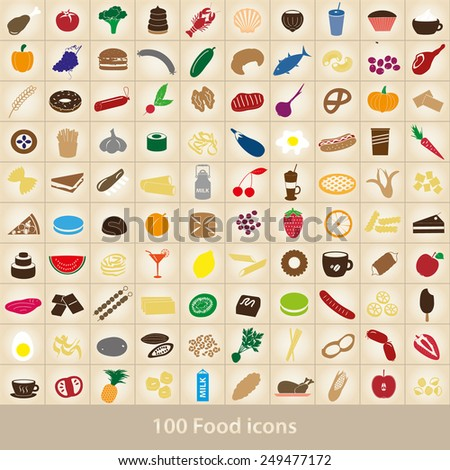 100 various food and drink color icons set eps10 - stock vector