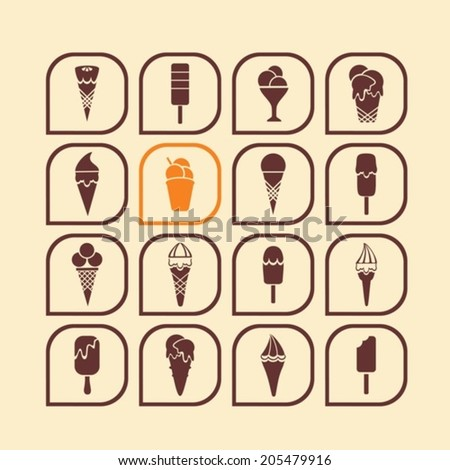 Various icons with ice cream. Vector.  EPS-10 (non transparent elements,non gradient)   - stock vector