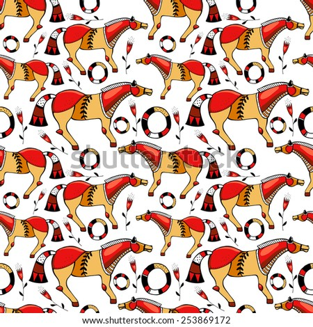 Vector abstract folk pattern - stock vector