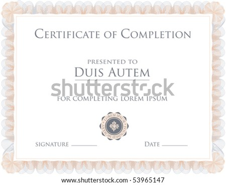 (vector) Award Certificate Template (a jpg version is also available) - stock vector