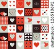 Vector background for valentines day. Vintage pattern with decorative hearts - stock