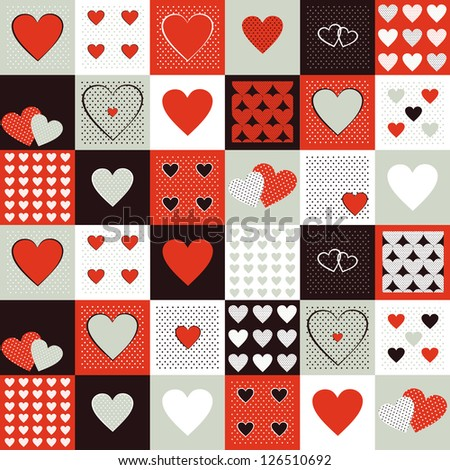 Vector background for valentines day. Vintage pattern with decorative hearts - stock vector
