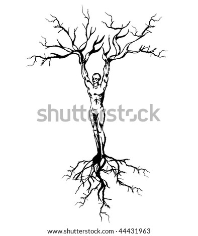 vector background has a man with tree roots