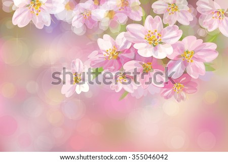 Vector blossoming sakura tree, pink bokeh background. - stock vector