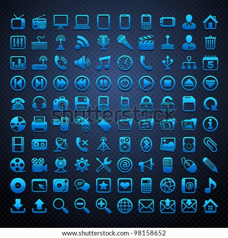 100 vector blue icons - stock vector
