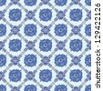 Vector Blue vintage ceramic tiles wall decoration. List on ceramics similar to Gzhel - stock