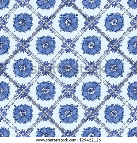 Vector Blue vintage ceramic tiles wall decoration. List on ceramics similar to Gzhel - stock vector