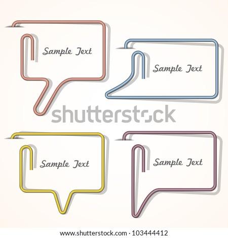 Vector bubbles speech made of paper clip - stock vector