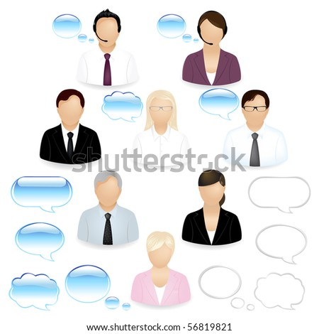 8 Vector Business People Icons With Dialog Bubbles, Isolated On White - stock vector