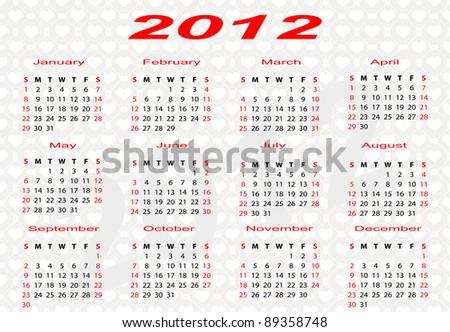 2012 Vector Calendar - stock vector