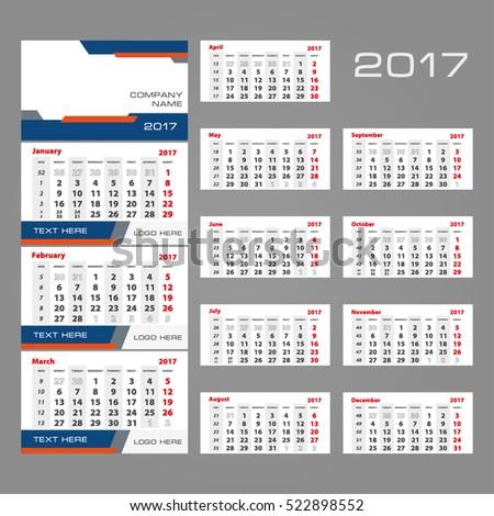 2017 Vector Calendar Template Three Month Stock Vector 522898552