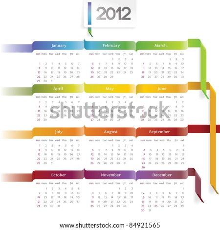 2012 vector calendar with rainbow ribbons - stock vector
