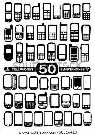 50 Vector Cellphones and Smartphones - stock vector