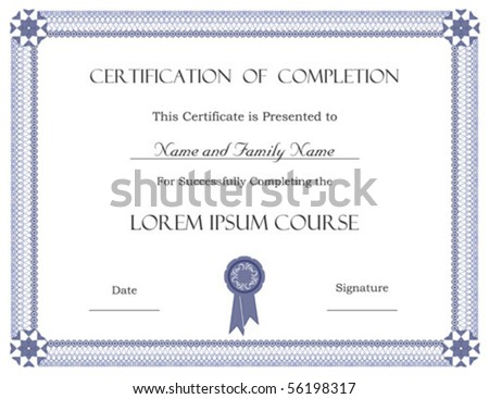 (vector) Certificate of Completion Template - stock vector
