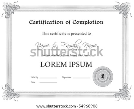 (Vector) Certificate of Completion Template;   (A jpg version is also available)