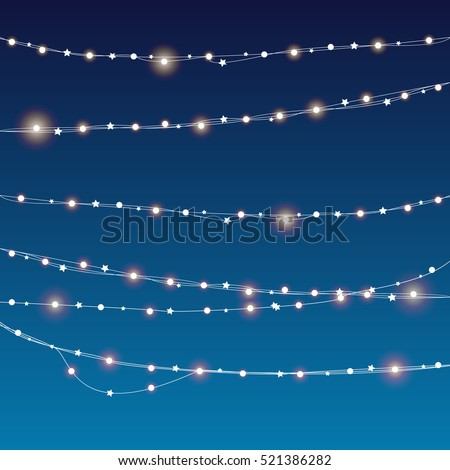 vector Christmas decorations. Christmas lights isolated realistic design elements.