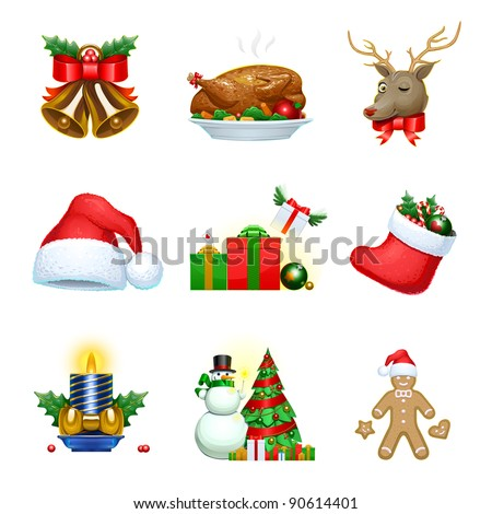 9 Vector Christmas icons - stock vector