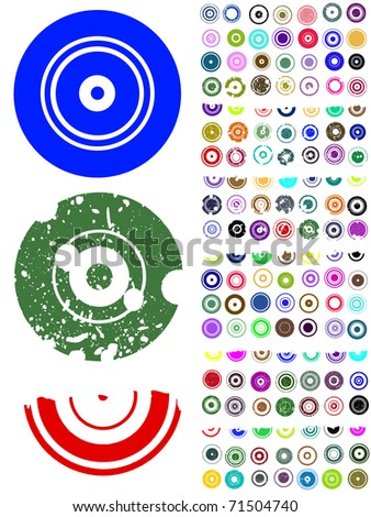 140 Vector Circle Elements with splat and grunge effects - stock vector